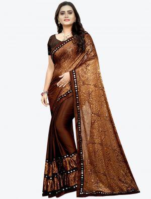 Dark Brown Lycra Designer Saree small FABSA20948