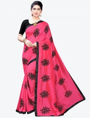 Dark Pink Georgette Designer Saree small FABSA20954