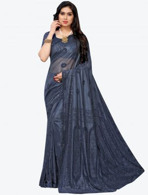 Greyish Blue Lycra Designer Saree small FABSA20946