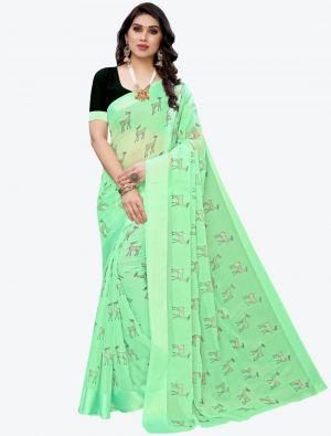 Light Green Silk Blend Designer Saree small FABSA20950