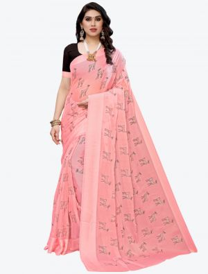 Light Pink Silk Blend Designer Saree small FABSA20951