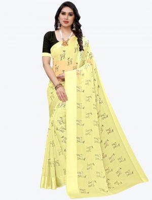 Light Yellow Silk Blend Designer Saree small FABSA20953