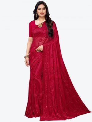 Red Lycra Designer Saree small FABSA20945