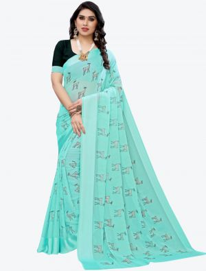 Sky Blue Silk Blend Designer Saree small FABSA20952