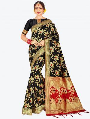 Black Banarasi Art Silk Designer Saree small FABSA20518