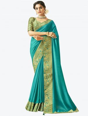 Blue Art Silk Designer Saree small FABSA20525