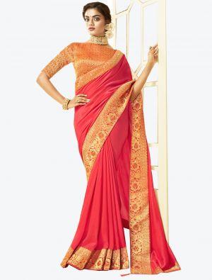 Bright Peach Art Silk Designer Saree small FABSA20528