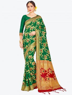 Green Banarasi Art Silk Designer Saree small FABSA20515