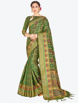 Green Banarasi Art Silk Designer Saree small FABSA20523