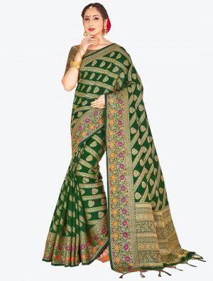 Green Banarasi Art Silk Designer Saree small FABSA20537