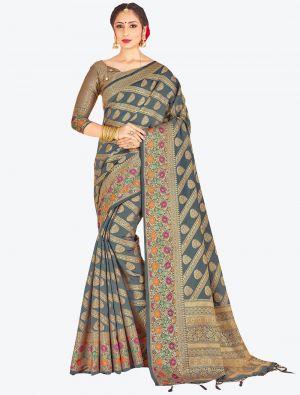 Grey Banarasi Art Silk Designer Saree small FABSA20536