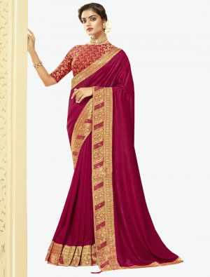 Magenta Pink Art Silk Designer Saree small FABSA20524