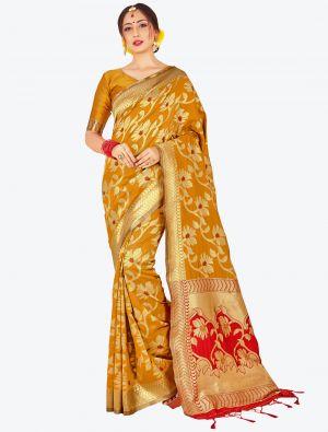 Mustard Yellow Banarasi Art Silk Designer Saree small FABSA20517