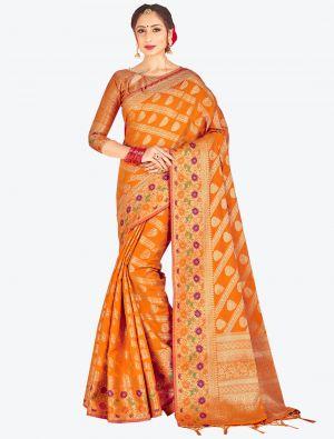 Mustard Yellow Banarasi Art Silk Designer Saree small FABSA20534