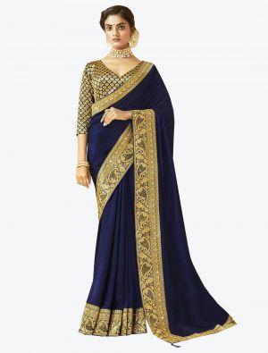 Navy Blue Art Silk Designer Saree small FABSA20529