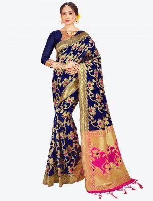 Navy Blue Banarasi Art Silk Designer Saree small FABSA20514