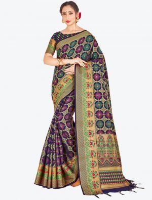 Navy Blue Banarasi Art Silk Designer Saree small FABSA20522