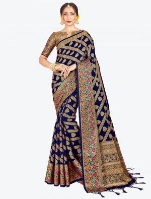 Navy Blue Banarasi Art Silk Designer Saree small FABSA20531