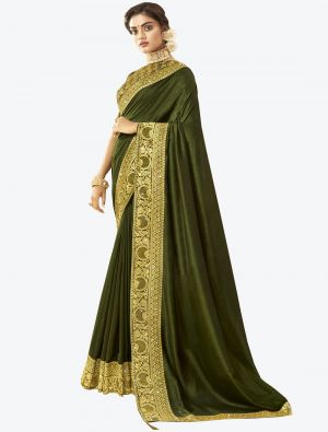 Olive Green Art Silk Designer Saree small FABSA20527