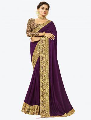 Purple Art Silk Designer Saree small FABSA20530