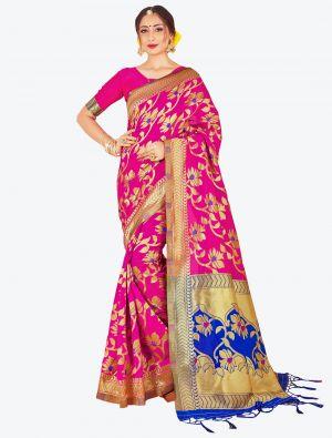 Rani Pink Banarasi Art Silk Designer Saree small FABSA20516