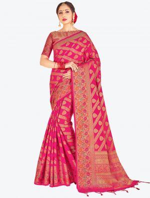 Rani Pink Banarasi Art Silk Designer Saree small FABSA20533