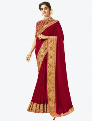 Red Art Silk Designer Saree small FABSA20526