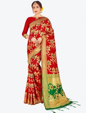 Red Banarasi Art Silk Designer Saree small FABSA20519