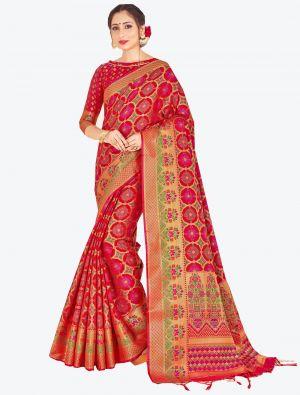 Red Banarasi Art Silk Designer Saree small FABSA20520