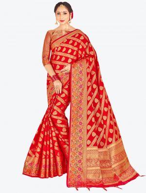 Red Banarasi Art Silk Designer Saree small FABSA20532