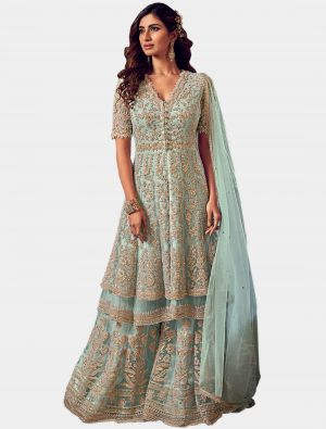 Baby Blue Net Sharara Suit with Dupatta small FABSL20202