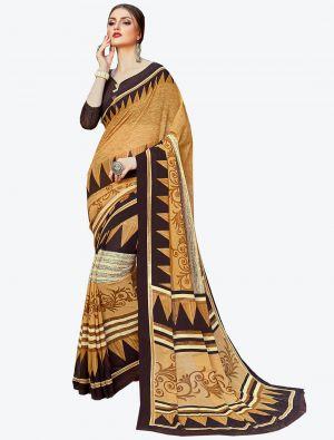 Beige Georgette Designer Saree small FABSA20583