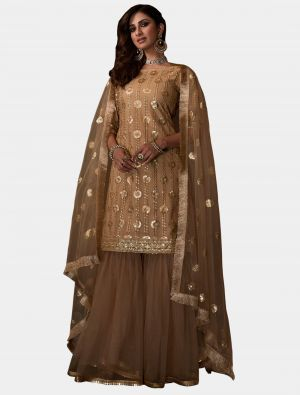 Beige Net Sharara Suit with Dupatta small FABSL20190
