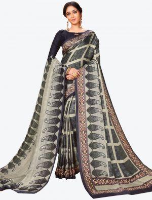 Black and Grey Pashmina Designer Saree small FABSA20600