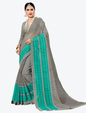 Black and White Kota Silk Designer Saree small FABSA20628