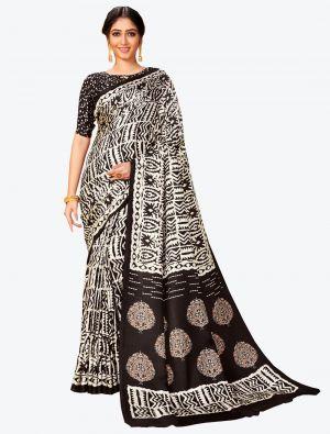 Black and White Pashmina Designer Saree small FABSA20602