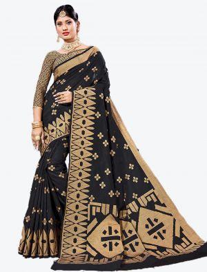 Black Handloom Cotton Designer Saree small FABSA20625