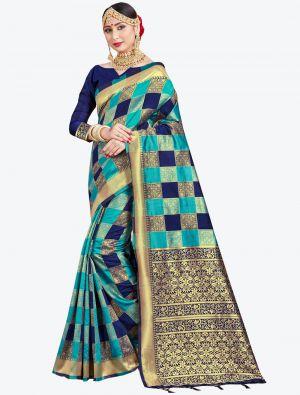 Blue and Navy Blue Banarasi Art Silk Designer Saree small FABSA20542