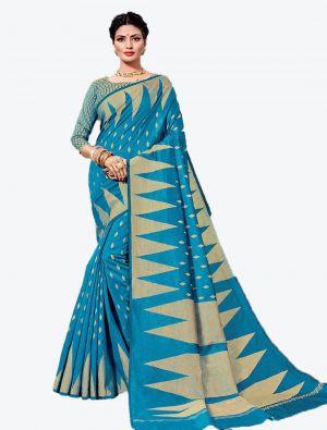 Blue Handloom Cotton Designer Saree small FABSA20619