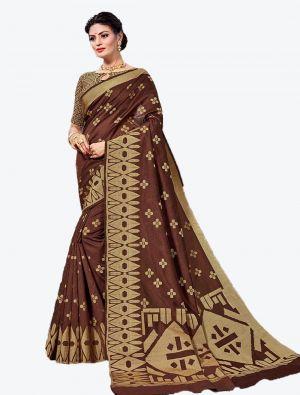 Brown Handloom Cotton Designer Saree small FABSA20620