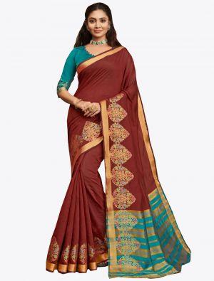 Brown Khadi Silk Designer Saree small FABSA20569