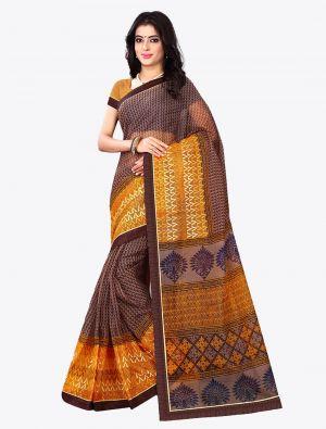 Brown Kota Silk Designer Saree small FABSA20612