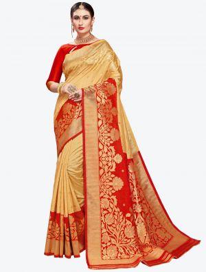 Cream Banarasi Art Silk Designer Saree small FABSA20560