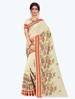 Cream Cotton Designer Saree small FABSA20609