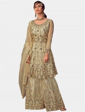 Cream Net Sharara Suit with Dupatta small FABSL20196