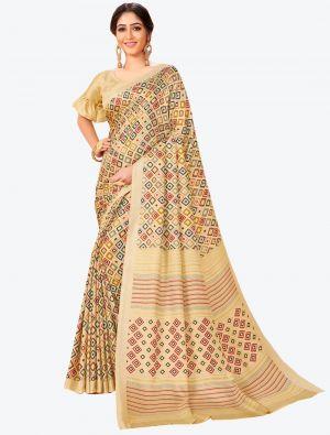 Cream Pashmina Designer Saree small FABSA20598