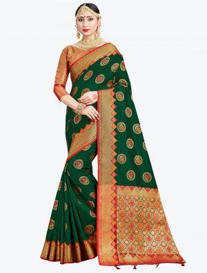 Dark Green Banarasi Art Silk Designer Saree small FABSA20551