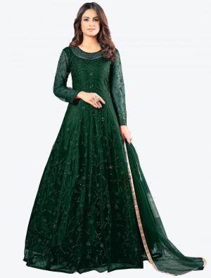 Dark Green Net Floor Length Suit with Dupatta small FABSL20178