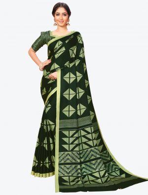 Dark Green Pashmina Designer Saree small FABSA20596
