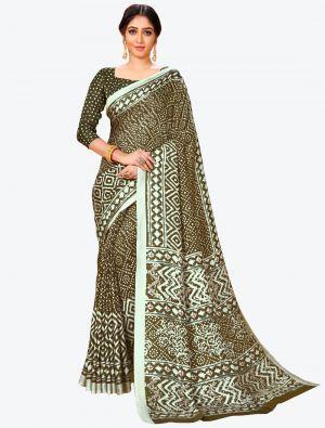 Dark Olive Green Pashmina Designer Saree small FABSA20601